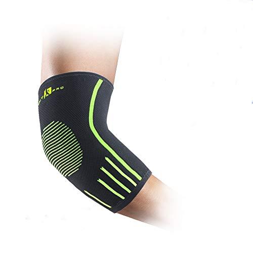 FITxPRO, coppia di gomitiere a compressione, di alta qualità, per praticare ginnastica, sollevamento pesi, tennis, sport, polsiera inclusa, Black-Green, Meduim