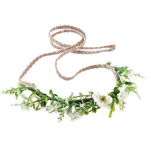 Ever Fairy Corona de flores hecha a mano floración diadema bebé niña niño arbolado hoja verde corona floral corona (blanco)