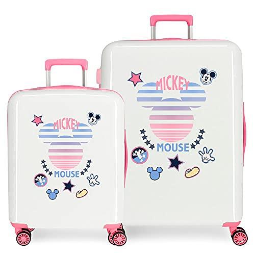 Disney Mickey Mickey Denim Juego de maletas Blanco 55/70 cms Rígida ABS Cierre TSA integrado 119,5 6 kgs 4 Ruedas dobles Equipaje de Mano