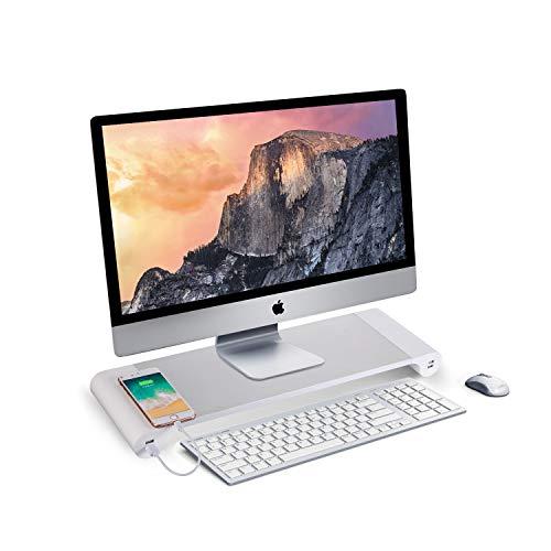 PG Desk Stand Monitor Stand Computer Stand 4 USB Port Charging Keyboard Storage, Aluminum Bracket Convenient Desktop Storage