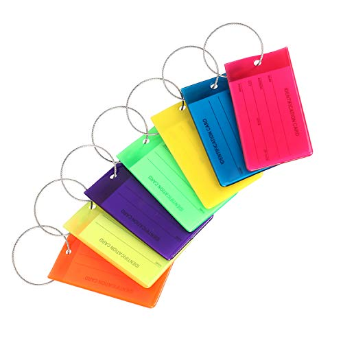 Luggage Tags for Suitcases, 7 Pack Bag Tags Personalized with Bright Colors & Steel Loops, Flexible Silicone Name ID Identification Labels Set for Bags & Luggages