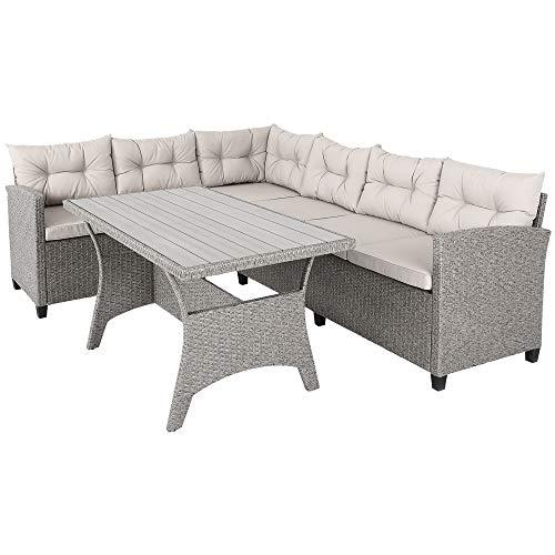 Casaria Conjunto Muebles de Jardín para 6 Personas 2 Sofás esquineros y Mesa de Poliratán para Exterior