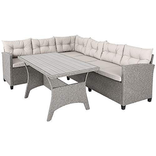 Casaria Conjunto muebles de Jardín 6 Personas Sofa de Esquina 340cm con mesa cojines Poliratán Terraza Patio Balcón Exterior