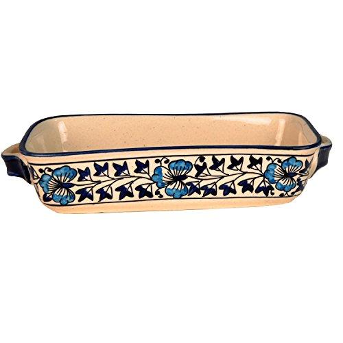 Craftghar Snack Tray Rectangular in Handmade Blue Ceramic Pottery