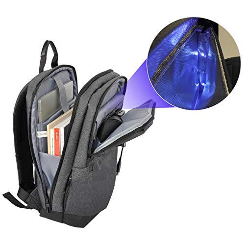 Zaino per computer portatile con tasca sterilizzatore UV a raggi ultra violetta, borsa che elimina il 99,9% batteri, borsa imbottita per computer