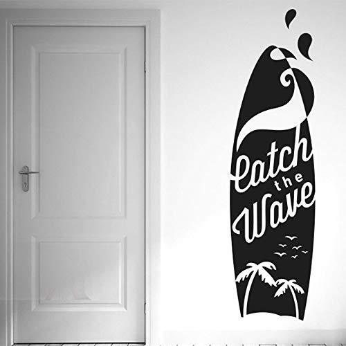 Calcomanía de vinilo para deportes extremos tabla de surf surf en el océano paisaje de playa de palma dormitorio de niños baño club decoración del hogar pegatina de pared DIY cartel mural artísti