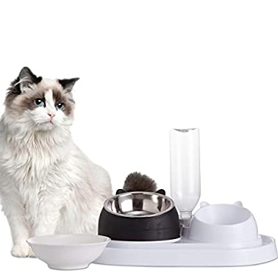 Jemirry Double Dog Cat Bowls Water and Food Bowl Set Detachable Stainless Steel Bowl Automatic Water Dispenser, with a Replaceable Ceramic Bowl,Black and White