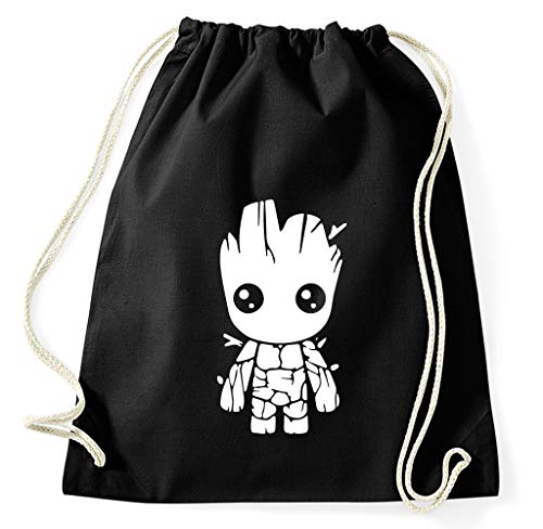 Styletex23 Baby Groot Turnbeutel Sportbeutel Gym Bag, schwarz