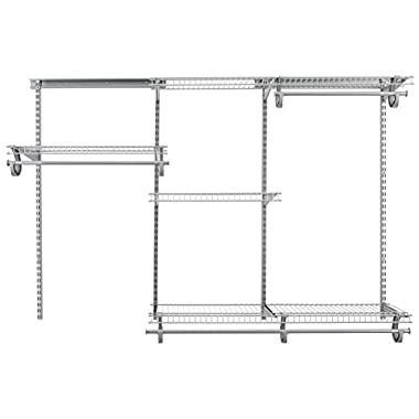 ClosetMaid 78808 ShelfTrack 4ft. to 6ft. Adjustable Closet Organizer Kit, Satin Chrome
