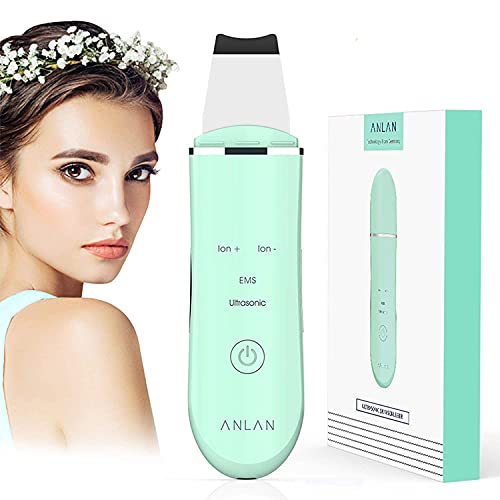 Ultraschallpeelinggerät ANLAN Skin Scrubber, Ultraschall-Peeling Porenreiniger Akne-Entferner Ionen Hautreiniger für Gesichtsreinigung Gesichtspflege (grün)