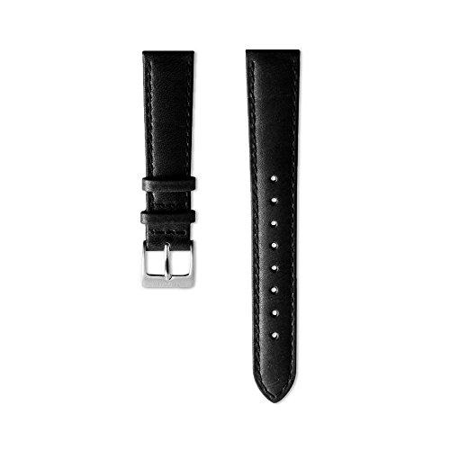 Nordgreen Lederarmband Schwarz für 36mm Uhren Silber