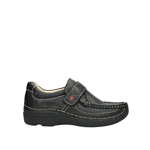 Wolky Comfort Slippers Roll Strap - 70000 schwarz gedruckt Leder - 43