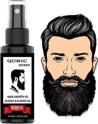 QUBIC Beard and Hair Growth Oil for Men - 50 ml - More Beard Growth with Coffee Bean Extract - 100% Natural | Made in India