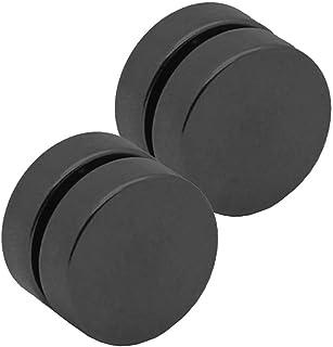 2 Orecchini con calamita finto plug fake tunnel piercing tappo senza dilatazione con magnete 10mm nero foro non necessario