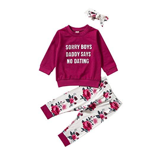 Suéter de bebé + pantalones + diadema con lazo, estampado de flores, traje casual, ropa de primavera suelta.