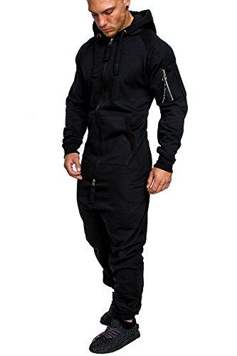 Amaci&Sons Herren Overall Jumpsuit Jogging Cargo-Style Onesie Trainingsanzug Camouflage 3006 Schwarz L