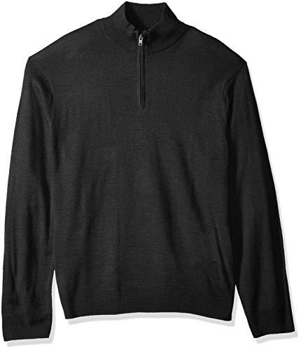 Dockers Men's Long Sleeve Quarter Zip Sweater, Black East Acrylic, X-Large