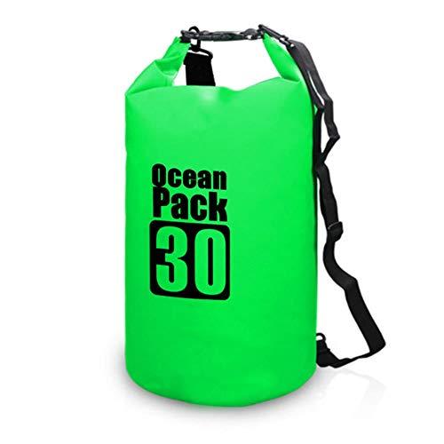 Sacca per Il Nuoto all'aperto Zaino Impermeabile a Secco Zaino per Rafting sull'acqua Sacca per Rafting Big Bag River Hiking, Green 30L