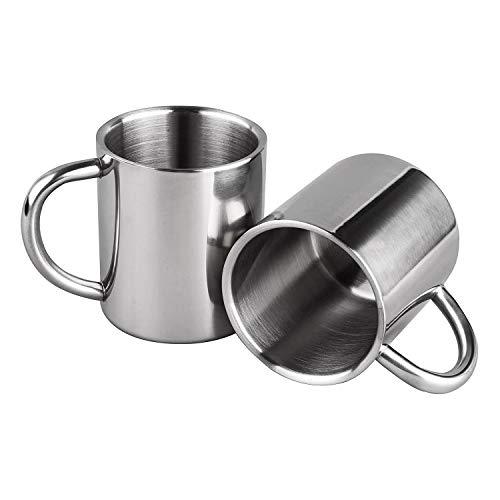 Kirmax Tazas de Café de Doble Pared 7.5Oz / 220Ml Tazas de Té de Acero Inoxidable Tazas de Camping para NiiOs, Juego de 2