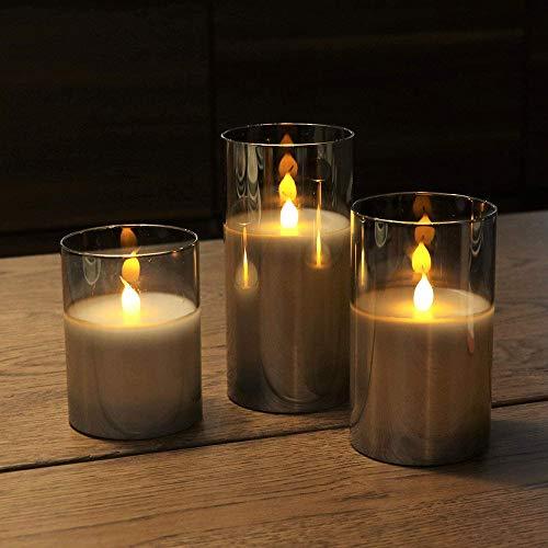 Verdelif LED Flammenlose Kerzen, Echtwachs Moving Effect Flackernder Glod Glass Kerzen Set, Innenbatterie Kerzen mit Timer Timing Funktion Flackernde Lampe 4 5 6 3er Pack