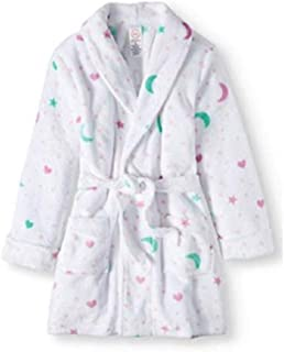 Girls Wonder Nation Stars & Moon Plush Bathrobe Robe Size Large 10/12 White
