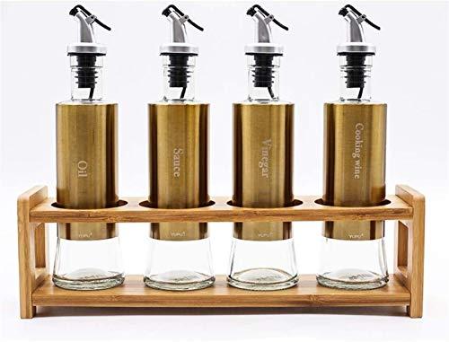 HXF Suministros de cocina salero caja de condimentos botella de condimentos creativa vertical caja de condimentos para ahorrar espacio (color: botella de aceite dorada, juego de 4)
