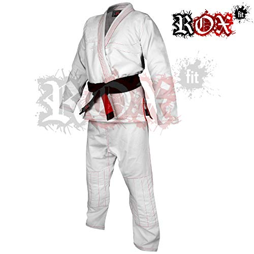 A2 /Traje de Jiu-Jitsu brasile/ño A3 A6 A5 ROX Fit BJJ Gi Trajes con Blanco sin cintur/ón para Competencia Gi/ A4 A0 Color Negro con Costuras Rojas A1