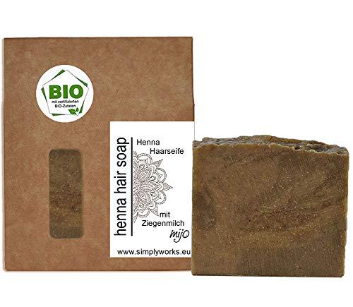 Mijo HENNA Haarseife mit Bio Olivenöl, Ziegenmilch, Rosmarin, Hanföl Eukalyptus Naturseife ohne Palmöl,vegan ca. 100g