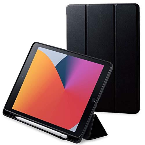エレコム iPad 10.2インチ 第8世代(2019年) 第7世代(2020年)対応 レザーケース オートスリープ/ウェイク対応 Apple Pencilスタンド・ホルダー付 ブラック TBWA19RWVSABK