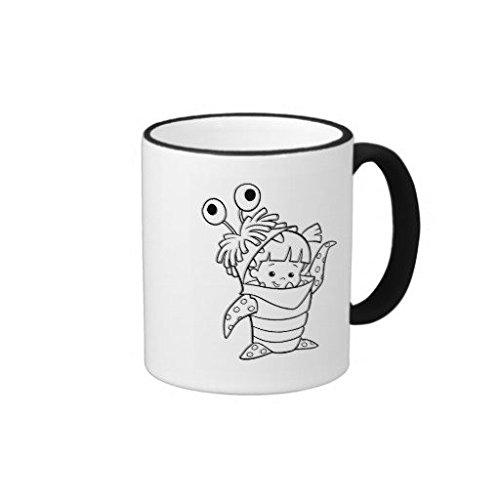 Monsters Inc Boo In Costume Waving Black And White Ringer Mug 11 OZ