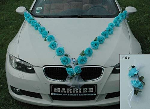Rosen Girlande Braut Paar Rose Deko Dekoration Autoschmuck Hochzeit Car Auto Wedding ®Auto-schmuck Deko PKW (Türkis/Weiß)