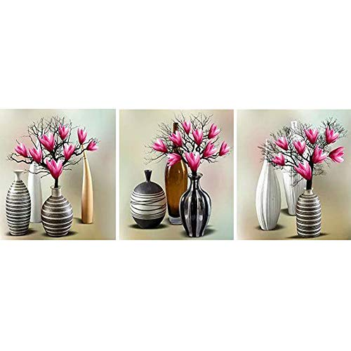 Diamond Painting Kit 3 Pannel Vase Tree Full Round Drill Picture Handicraft