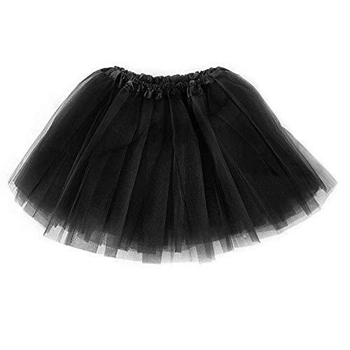 Ruiuzi tutù Gonna per Balletto Tutu per Bambine dai 2 agli 8 Anni in Tulle Triplo Strato per Feste di Halloween (Nero, Bambini (2-8 Anni))