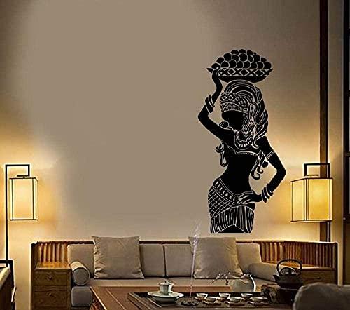 Calcomanía de pared,pegatinas de pared habitación para niños,familia,dormitorio murales,pared calcomanía africana niña indígena turbante etiqueta engomada de estilo étnico 57x119cm
