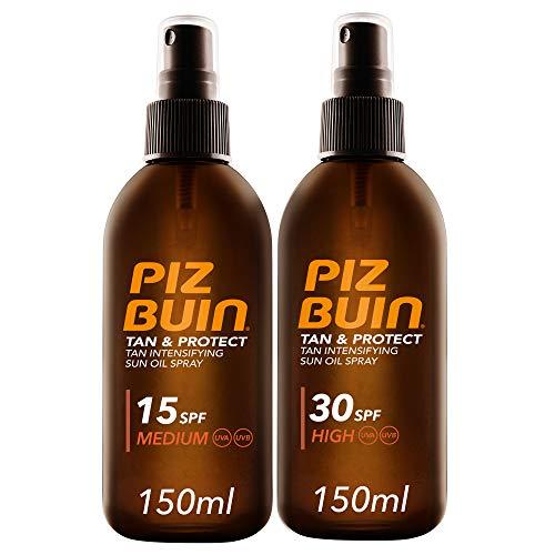 Piz Buin - Protector Solar, Tan & Protect Intensificador del Bronceado Aceite SPF 30 + SPF 15 - Pack 2 x 150 ml