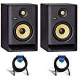 KRK 2 Pack ROKIT 5 G4 5' Powered Near-Field Studio Monitor, 43Hz-40kHz Frequency Response, Black - With 2 Pack 20' 6mm Rubber XLR Microphone Cable