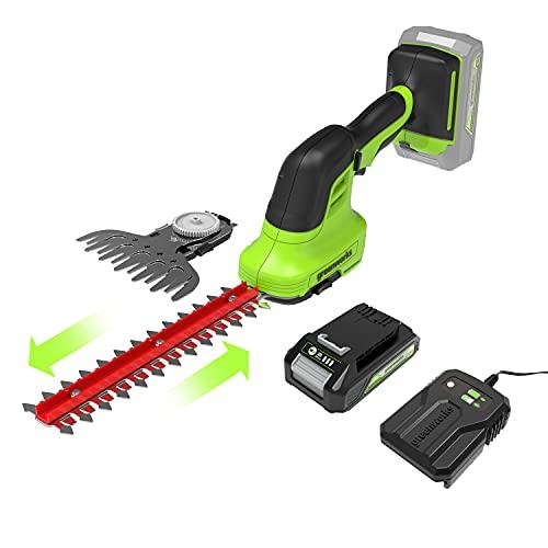 Greenworks Tools 1600607VA Cesoia per arbusti, 200 W, 24 V, Verde, Nero, Grigio