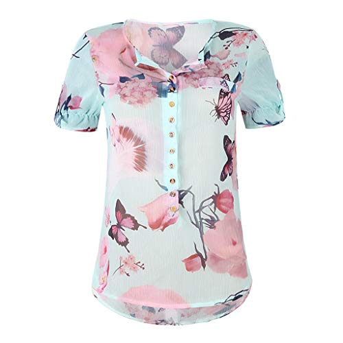 Luckycat Blusas para Mujer Elegantes Verano Fiesta Sexy Camisetas Manga Larga Mujer Tallas Grandes Originales Blusa de Gasa Larga Escote en V Primavera Tops Shirt 2019