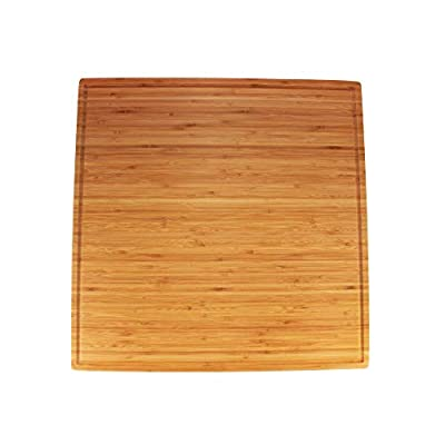 """BambooMN - Bamboo Burner Cover Cutting Board, New Vertical Cut, Large, Square - Grooved/Flat (20""""x20""""x0.75"""")"""