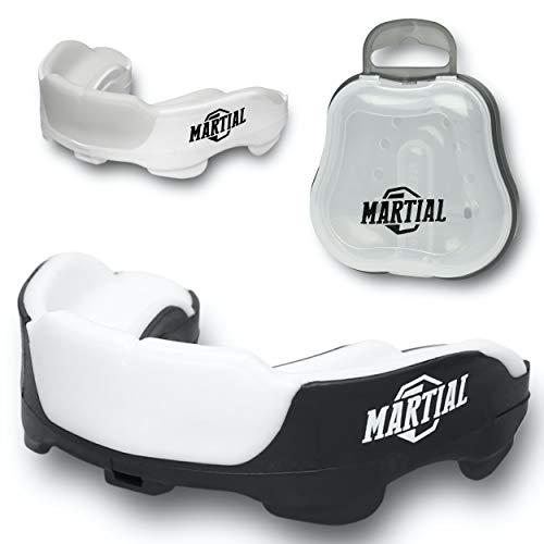 Martial Premium Mundschutz für ideale Atmung! Zahnschutz perfekt anpassbar mit Transportbox. Für Kampfsport, MMA, Boxen, Kickboxen, Hockey, Football - Erwachsene