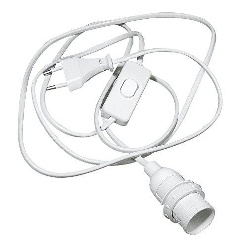 Rayher 2301500 Raccordement électrique E14, anneau fileté et câble d€™alimentation de 2m, avec interrupteur pour lampes, en plastique, blanc