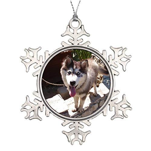 Weihnachtsschmuck, Husky Sam, Zinn, Ornament, Schneeflocke, Baum, Hängedekoration, Geschenk, 7,6 cm