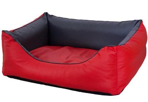 CopcoPet - Hundebetten Rocco S 70 x 55cm, Rot-Grau, 2in1 wasserabweisendes Hundebett, Hundeschlafplatz komplett aus Kunstleder, orthopädische Hundematratze aus Viscoschaumstoff