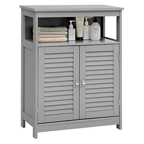 Tangkula Bathroom Floor Cabinet, Wooden Freestanding Storage Cabinet with Double Shutter Door & Adjustable Shelf, Storage Cabinet for Bathroom Living Room Bedroom (Grey)