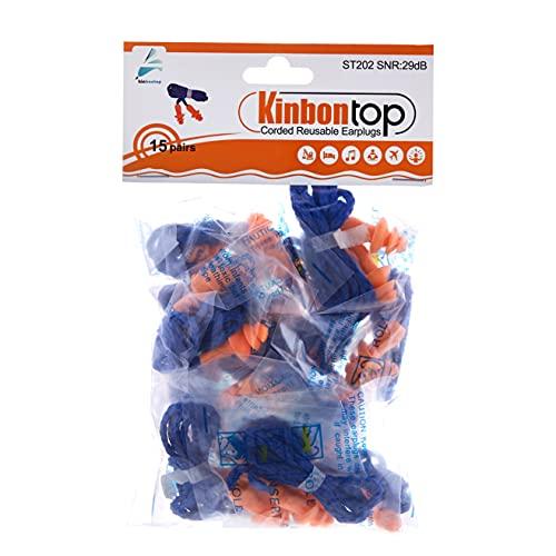Kinbontop - 15pares de tapones reutilizables de goma termoplástica suave para los oídos, SNR de 29dB,impermeables, reducción de ruido,protección auditiva, con cordón, color naranja