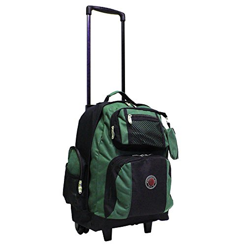 TRANSWORLD 22-inch Carry-on Rolling Backpack, Black-Green, One Size