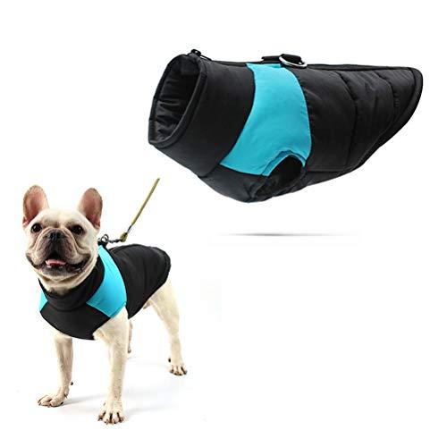 Chaleco acolchado para perro de algodón, impermeable, resistente al viento, abrigo, abrigo, con cremallera, con anillo en D, para perros pequeños, medianos y grandes