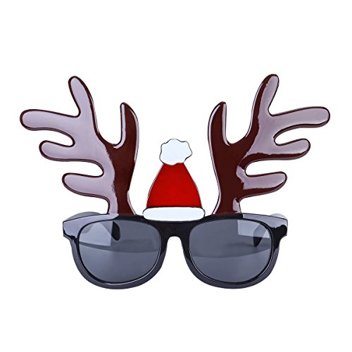 OULII Funny Christmas Reindeer Sunglasses Frame Novelty Costume Glasses for Christmas Party Decoration