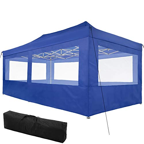 TecTake 800688 Carpa de Jardín 6 x 3m, Plegable, Aluminio, 100% Impermeable, 4 Paneles Laterales, con Cuerdas Tensoras, Piquetas y Bolsa (Azul   no. 403165)