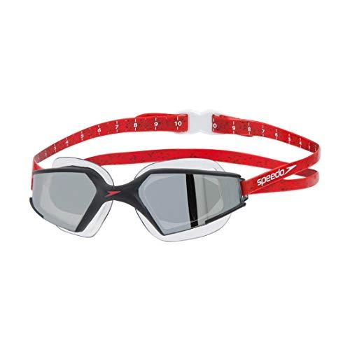 Speedo Aquapulse MAX 2 Mirror AU Gafas de natación, Adultos Unisex, Black/Lava Red/Chrome, Talla única